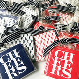 Set of 20 Cheers Coasters // red or navy
