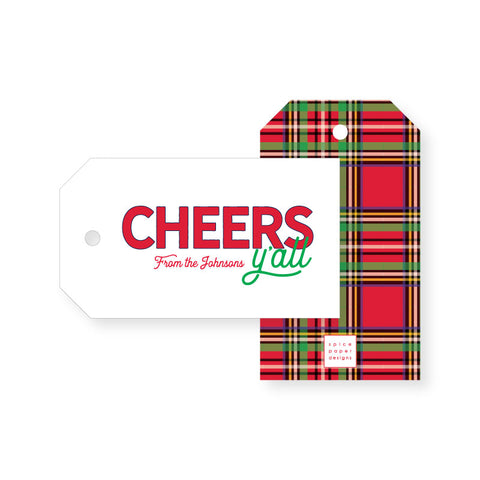 Tartan Cheers Y'all Gift Tag