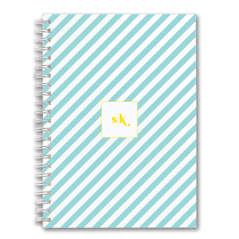 Custom Spiral Notebook // DIY diagonal stripe (two sizes)