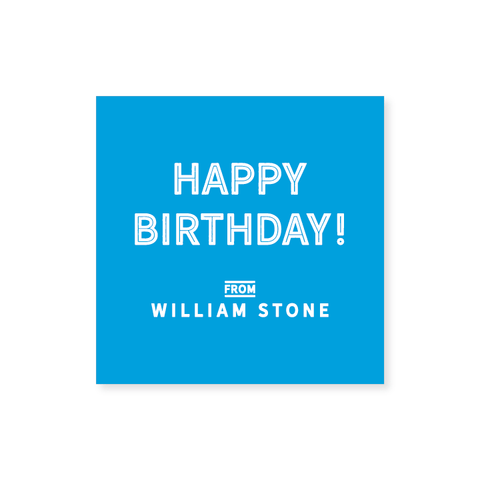 """Happy Birthday"" Square Stickers in Block // 20 color options"