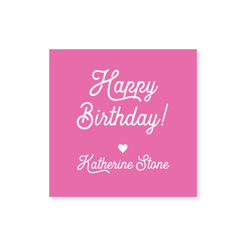 """Happy Birthday"" Square Stickers in Script // 20 color options"