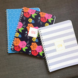 Custom Spiral Notebook // DIY wide stripes (two sizes)