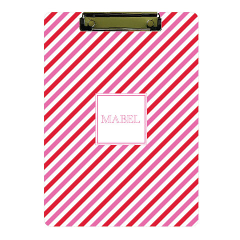 Personalized Clipboard // pink + red stripes