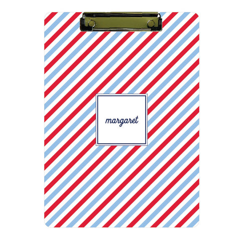 Personalized Clipboard // blue + red stripes