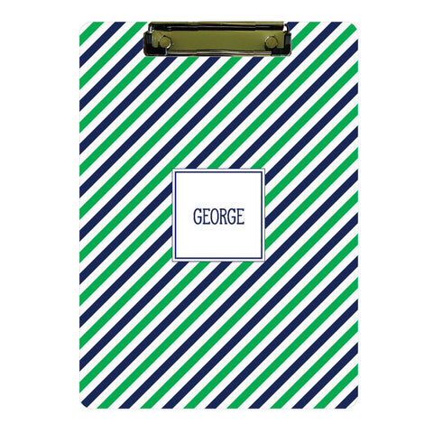 Personalized Clipboard // navy + green stripe