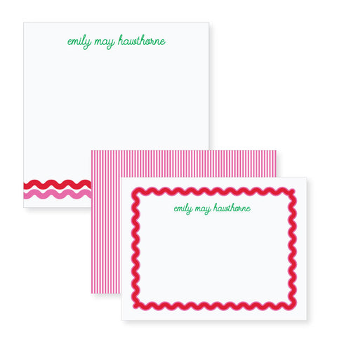 Ric Rac in Red + Peony // stationery bundle