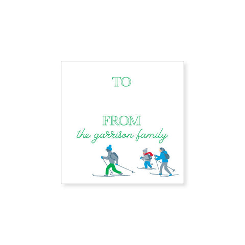 Holiday Gift Sticker | skiers