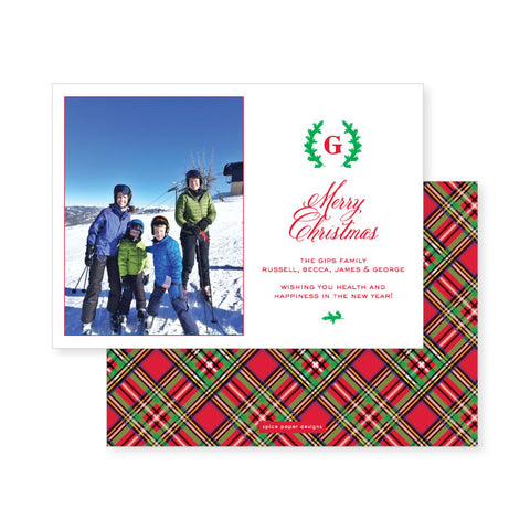 Tartan Plaid Monogram // holiday card