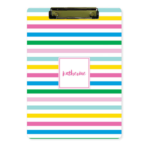 Personalized Clipboard // multi-color wide stripe