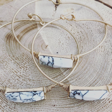 Minimalist White Marble Rectangle Stone Bracelet