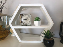Load image into Gallery viewer, Handmade Hexagon Boho Shelf Distressed Chalky White