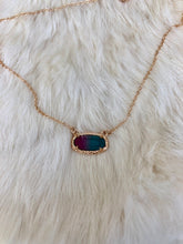 Load image into Gallery viewer, Mermaid Violet + Turquoise Gold Necklace