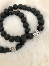 Load image into Gallery viewer, Aromatherapy Tree of Life Charm Black Lava Rock Bracelet (Set of 2) Set