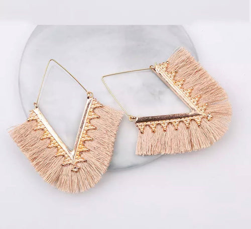 "Apricot Blush ""V"" Tassel Earrings"