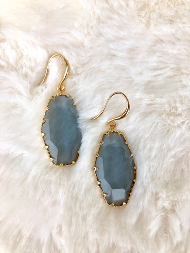 Grey Smoke /Golden Amber /Aqua Ocean Crystal Faceted Gold Earrings