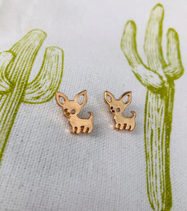Delicate Chihuahua Mom Earrings Gold + Silver