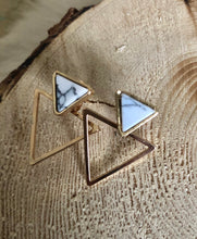 Load image into Gallery viewer, Geometric Double Triangle Marble stud Earrings