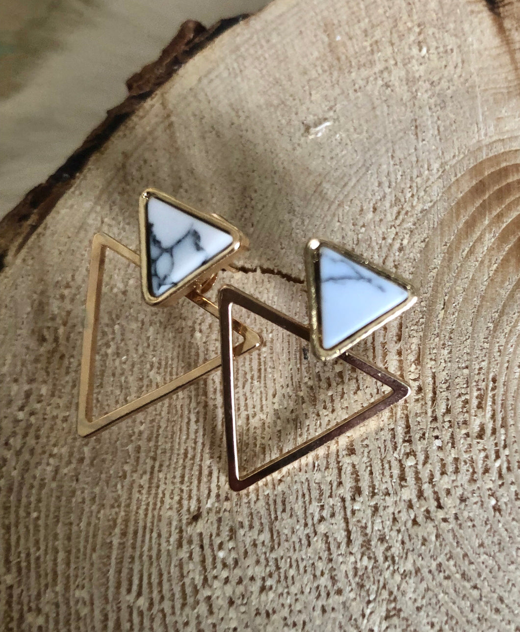 Geometric Double Triangle Marble stud Earrings