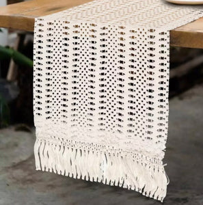 Cotton Macrame Style Table Runner