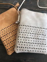 Load image into Gallery viewer, Camel or Feather Grey Taupe Boho Crossbody Bag