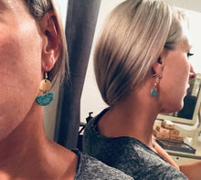 Load image into Gallery viewer, Half Moon Turquoise Sone and Gold Drop Earrings