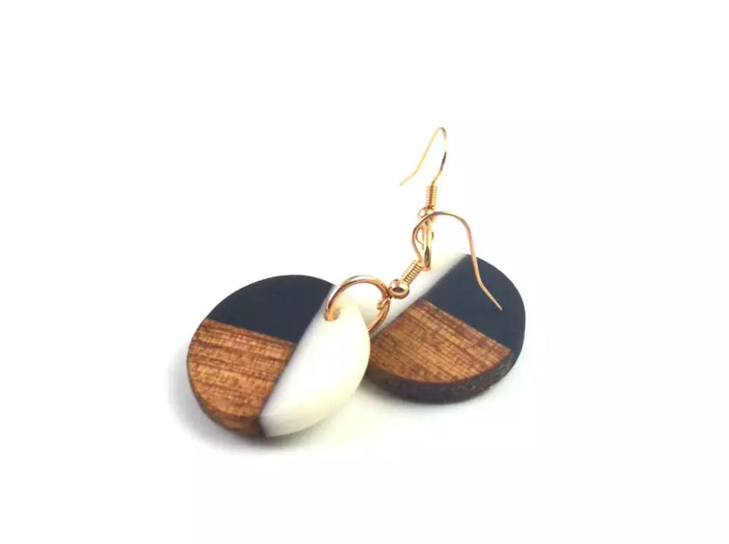 Circle Geometric wood Ebony and Ivory Earrings