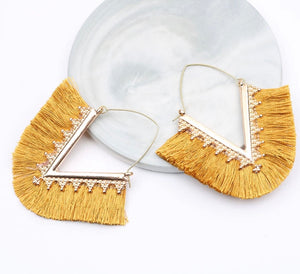 "Burnt Mustard ""V"" Dangle Tassel Earrings"
