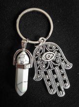 Load image into Gallery viewer, Charming White Marbled Natural Stone Healing Hand  Keychain