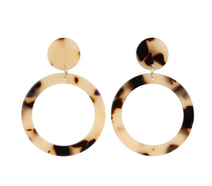 Can't decide? Get both and Save! Vintage Style Acetate Golden Tortoise + Grey Shell Earrings