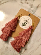 Load image into Gallery viewer, Beach Mauve Boho 3 layer Tassel Earrings