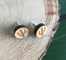 Load image into Gallery viewer, Tiny Earth Cactus Handmade Wood Stud Earrings