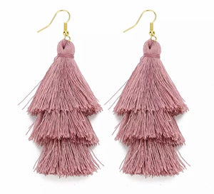 Beach Mauve Boho 3 layer Tassel Earrings