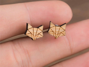 Tiny World Wood Fox Earrings