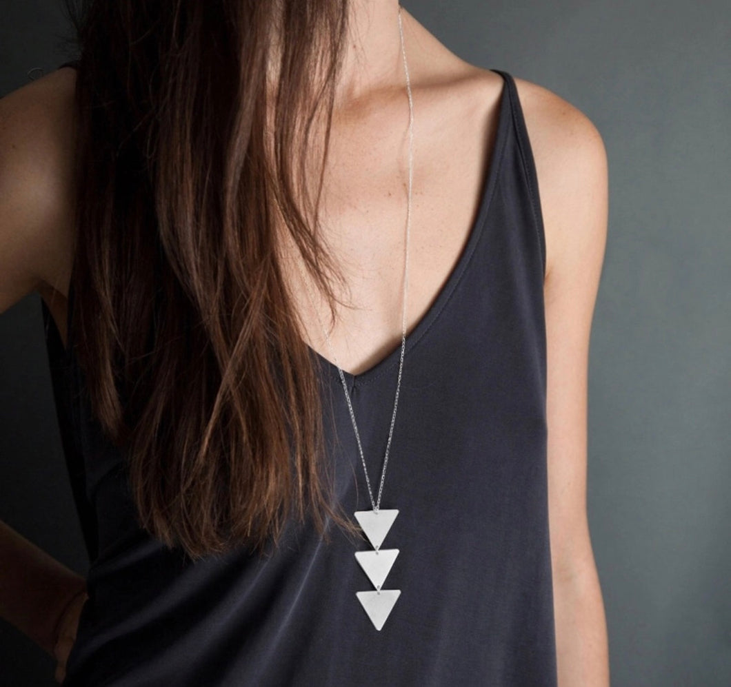 Betty- Geometric Arrow Silver Triangle Necklace