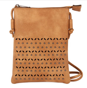 Camel or Feather Grey Taupe Boho Crossbody Bag