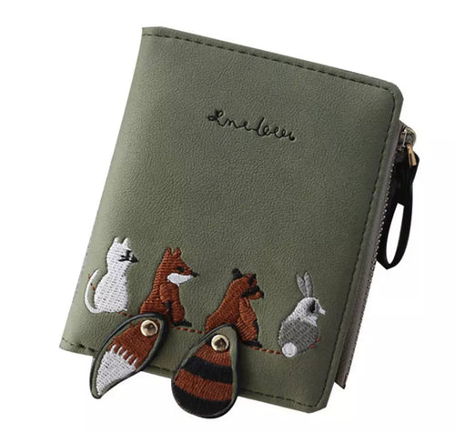 Foxy Friends Adorable Moss Green Wallet