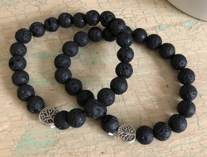 Aromatherapy Tree of Life Charm Black Lava Rock Bracelet (Set of 2) Set