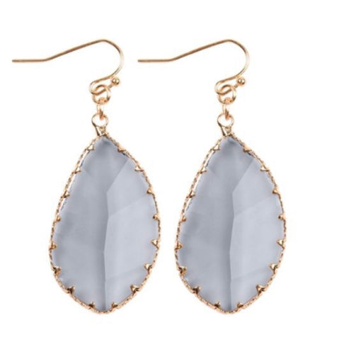 Grey Smoke Faceted Stunning Leaf Earrings