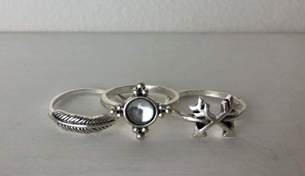 Feather Arrow Crystal Ring Trio
