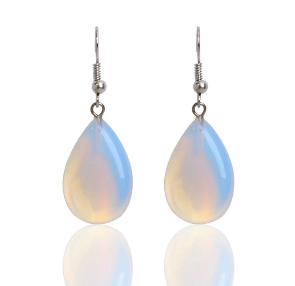 Opal Style Iridescent Teardrop Earrings