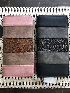 Blush Glitter Zippered Wallet