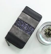 Load image into Gallery viewer, Black Glitter Zippered Wallet