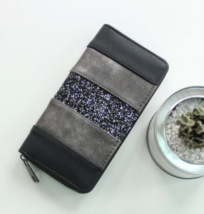 Black Glitter Zippered Wallet
