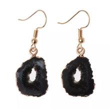 Load image into Gallery viewer, Mystical Black Geode Rock Dangle Earrings