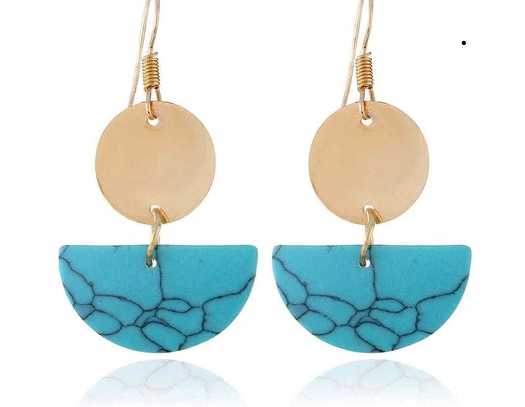 Half Moon Turquoise Sone and Gold Drop Earrings