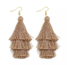 Load image into Gallery viewer, Beach Taupe  Boho 3 Layer Tassel Earrings