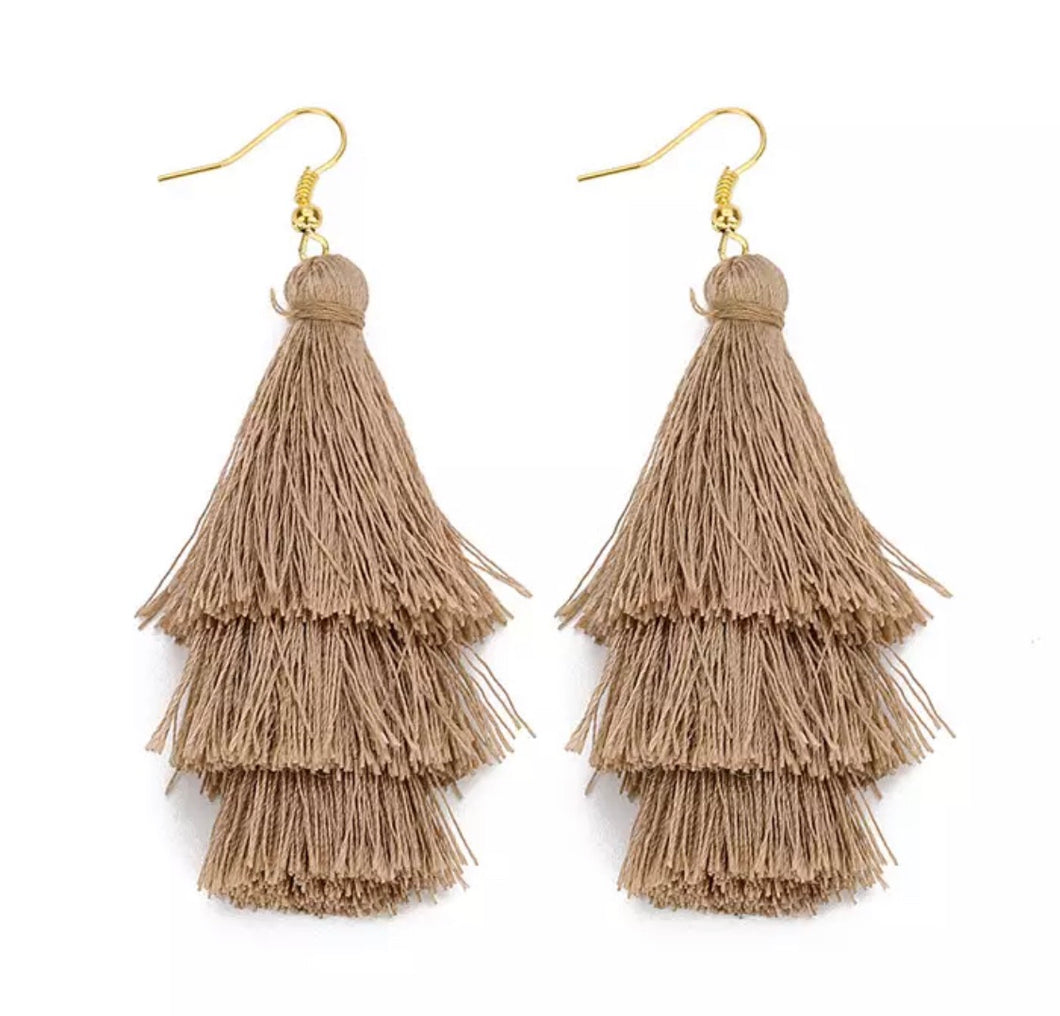 Beach Taupe  Boho 3 Layer Tassel Earrings