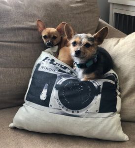 Retro Inspired Camera Accent Pillow