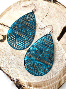 Tribal Turquoise Patina Teardrop Aztec Earrings