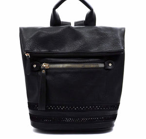 Olivia Fold Over LUX Backpack- Black